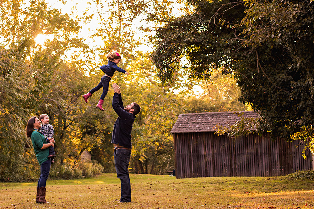 New Jersey Family Photographer, Throw in air Mother Son Watching