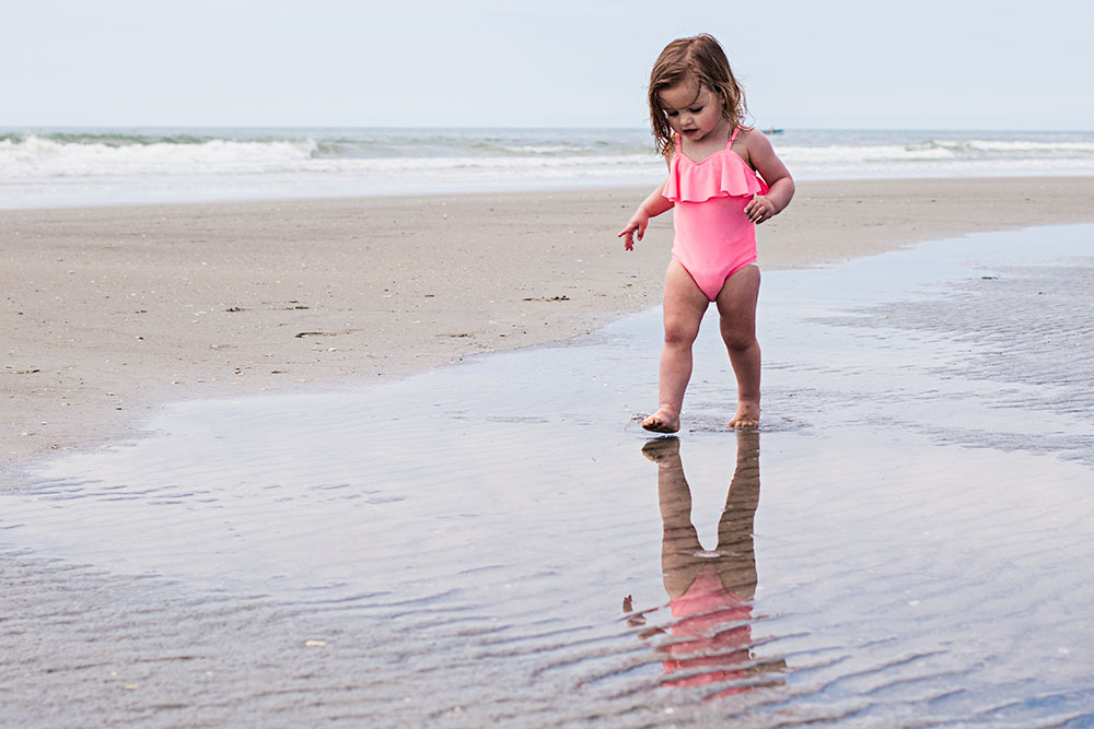 Nancy Elizabeth New Jersey Family Photographer | Toddler Reflection on Beach