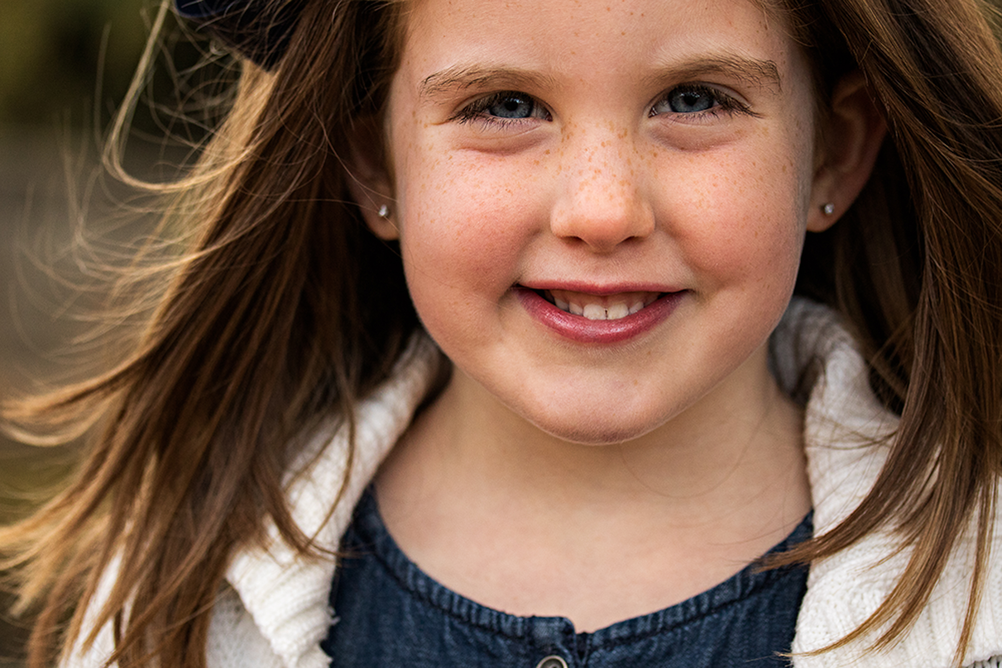 NancyElizabeth New Jersey Child Photographer |Close Up Portrait with Wind Blowing Hair