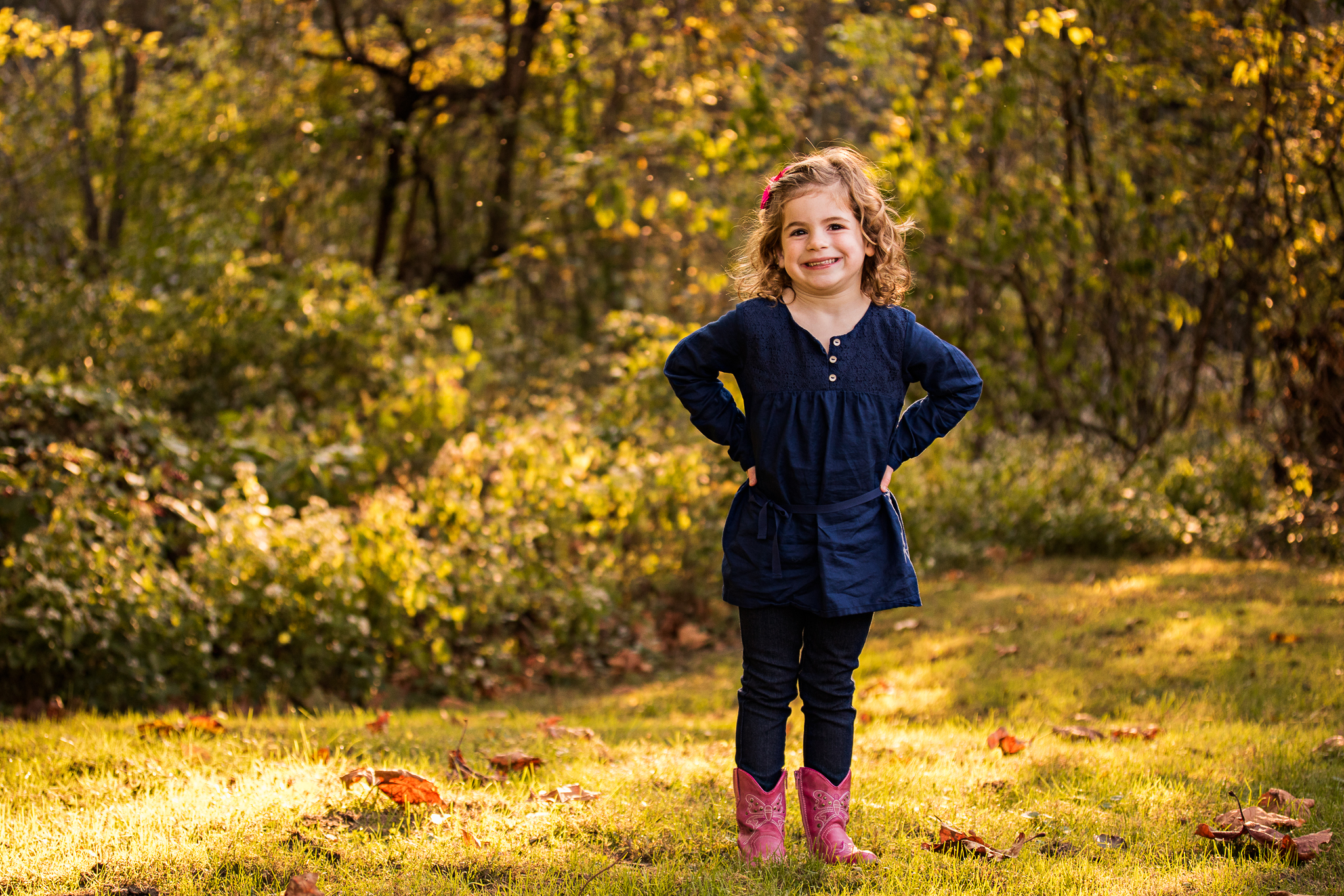 NancyElizabeth New Jersey Family Photographer | Smiling Preschooler in Cowgirl Boots
