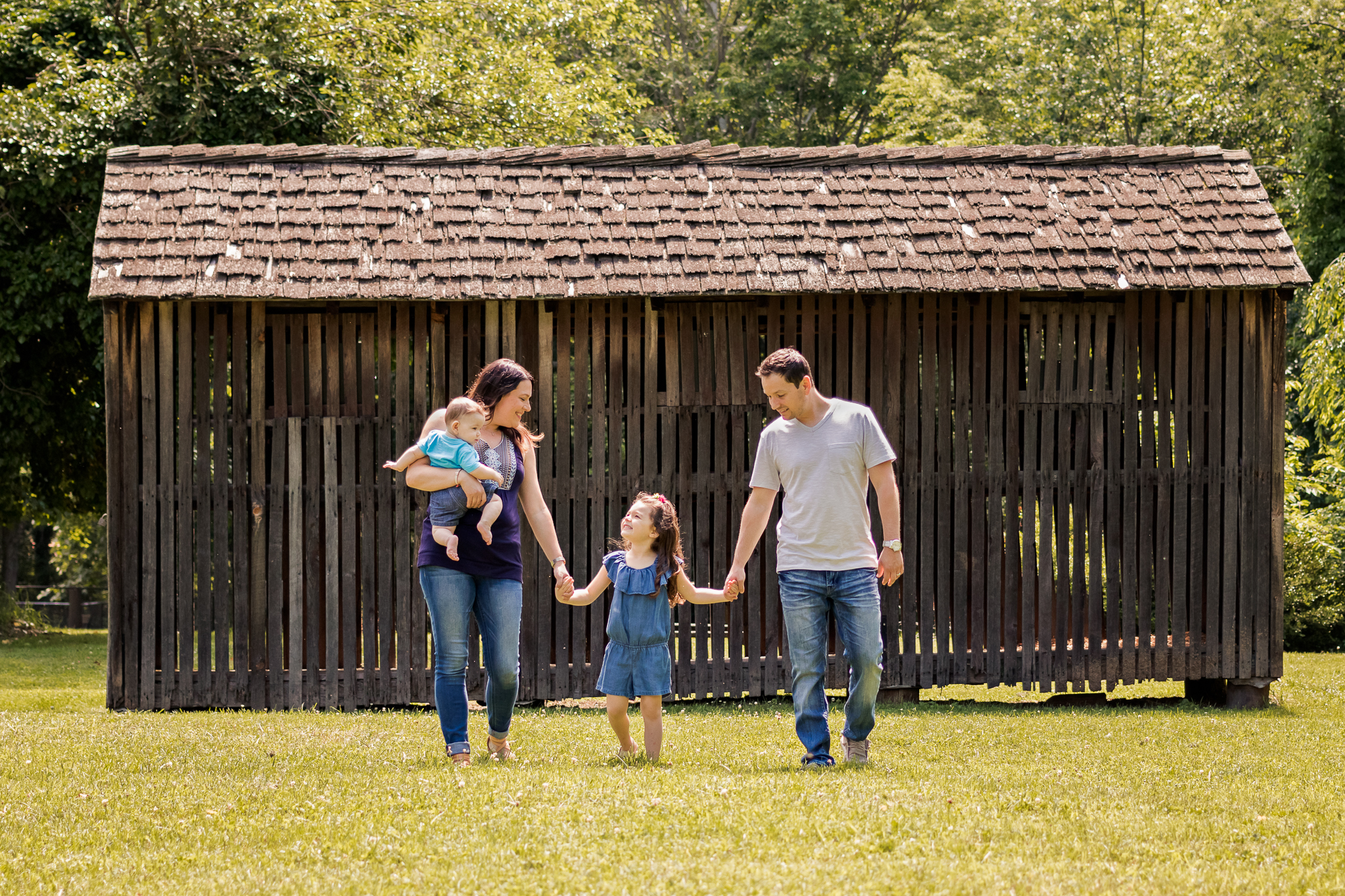 Nancy Elizabeth Photography, New Jersey Photographer, Family Walking Rustic Background