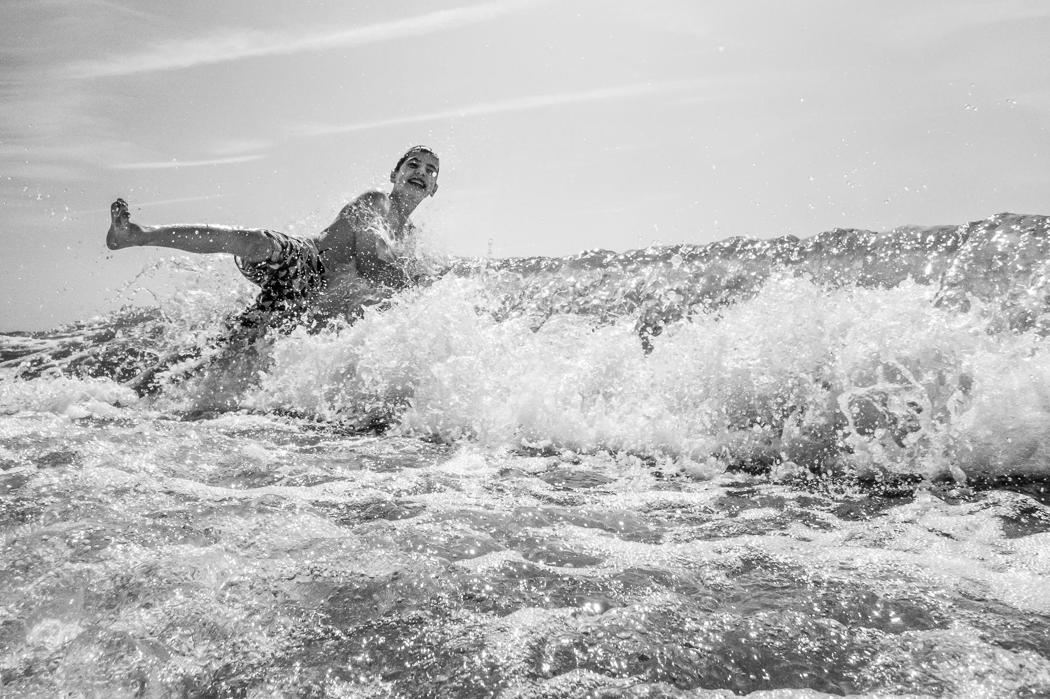 New Jersey Beach Photographer, Boy Jumping In Ocean Wave
