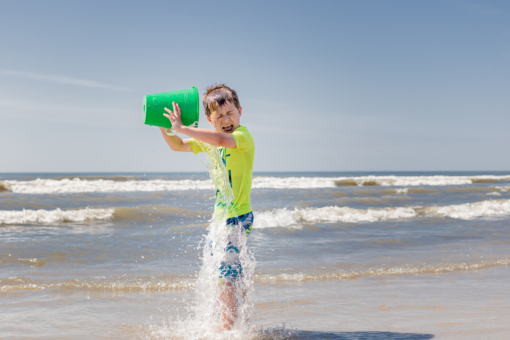 Nancy Elizabeth Photography | Jersey Shore Documentary Beach Photographer | Boy Dumping Water on Head