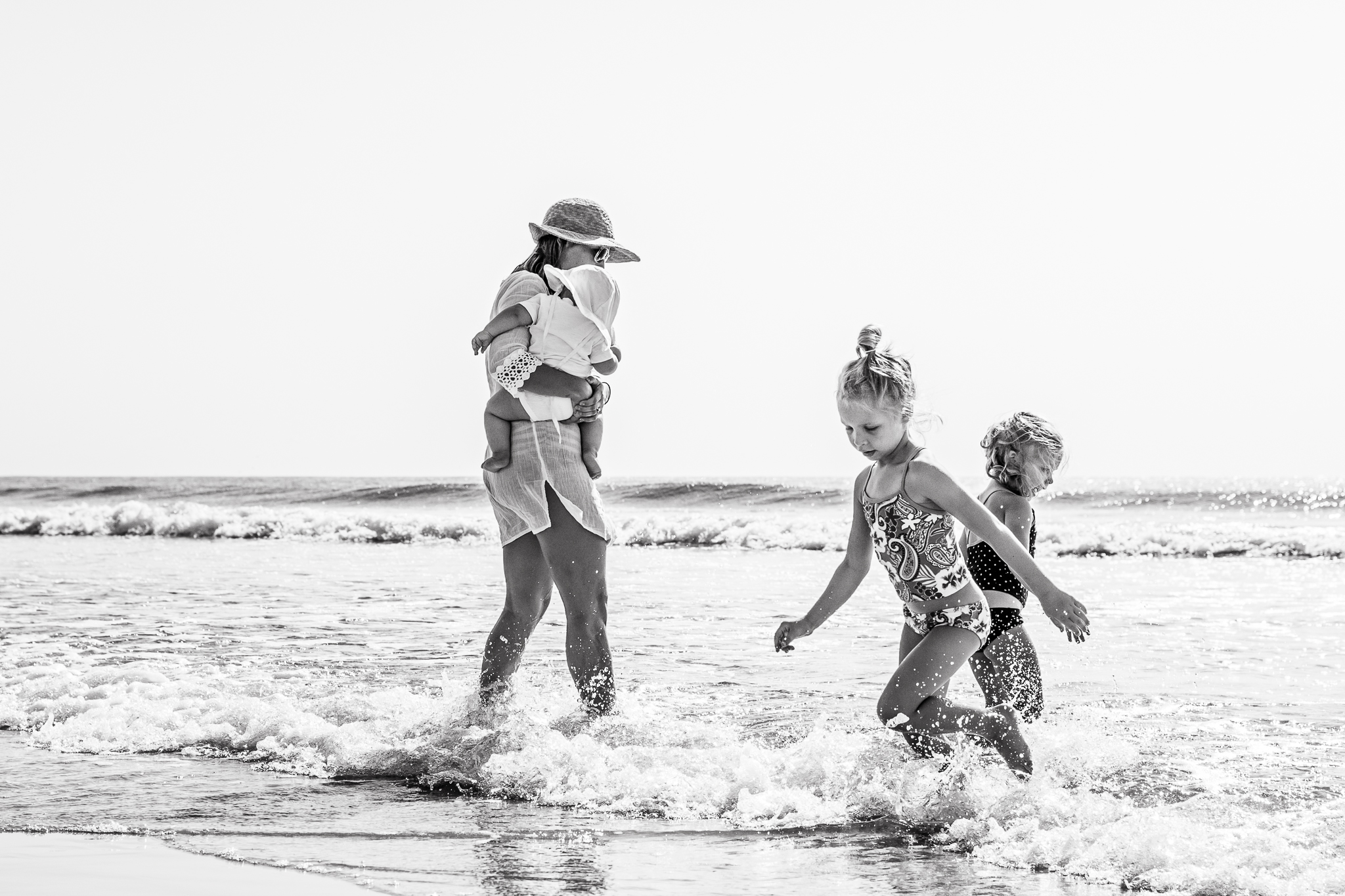 New Jersey Beach Photographer, Family Playing in Ocean