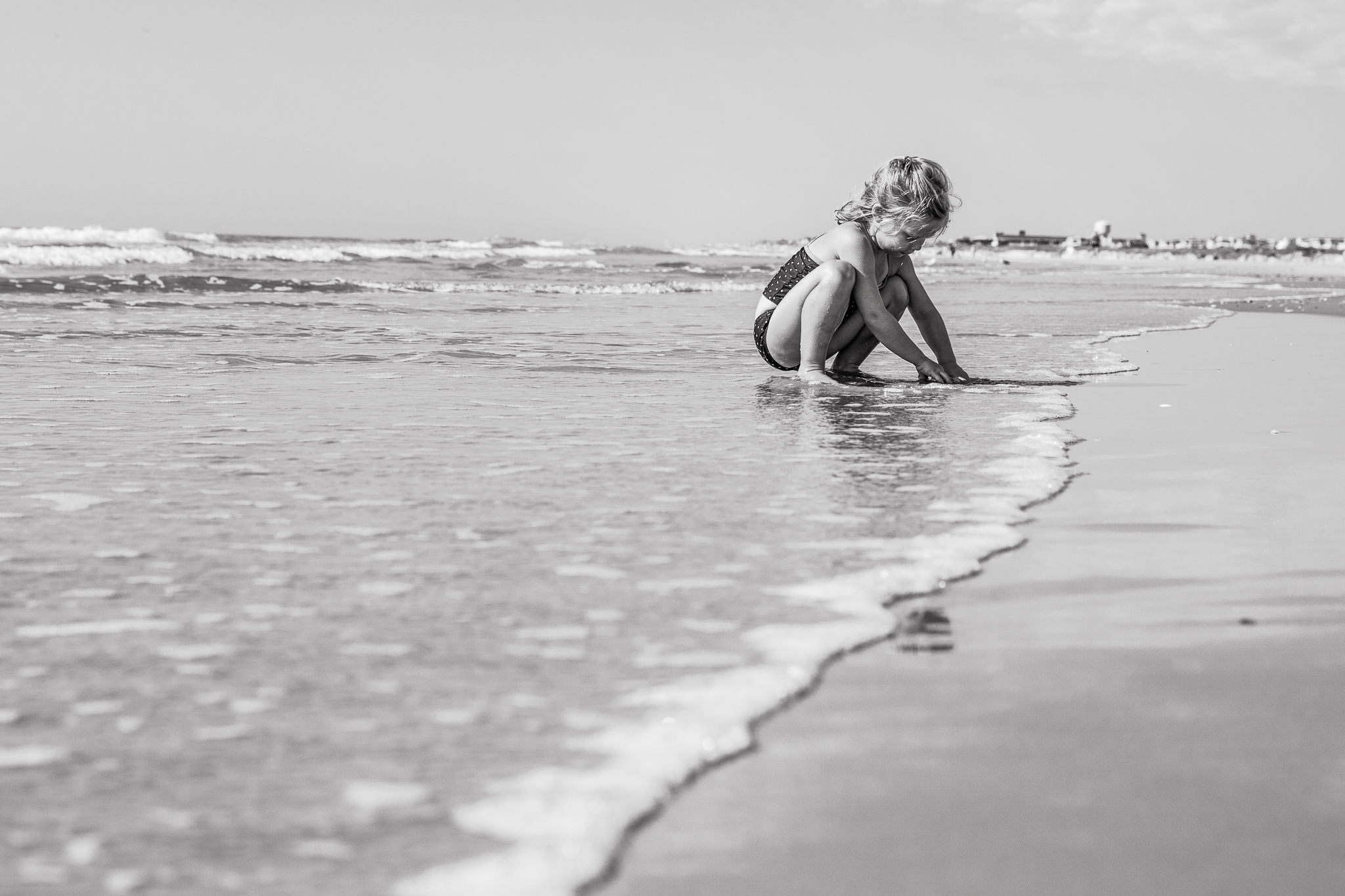 New Jersey Beach Photographer, Girl Playing at Edge of Ocean