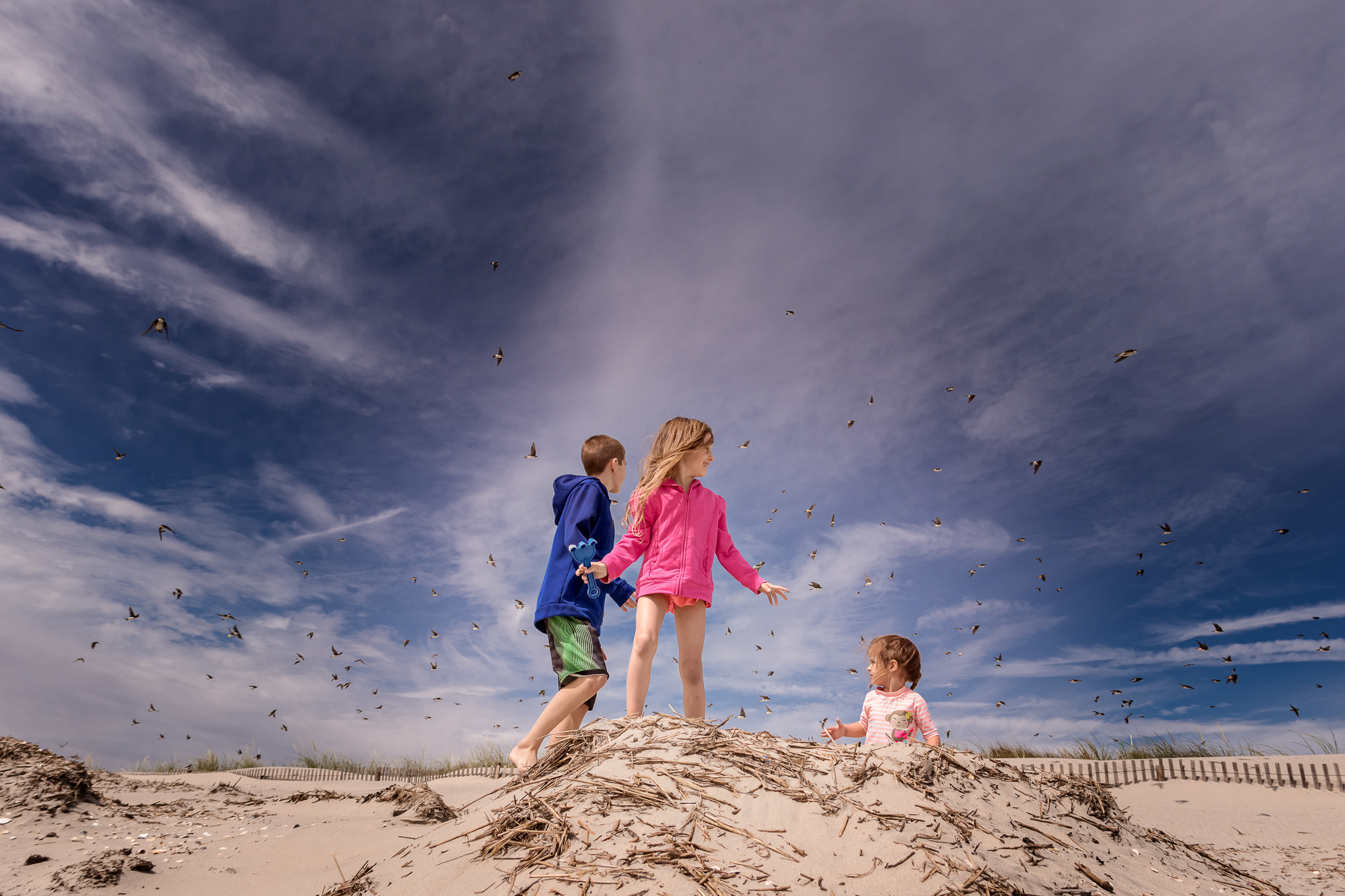 New Jersey Beach Photographer, Kids on Sand Hill with Blue Sky and lots of Birds