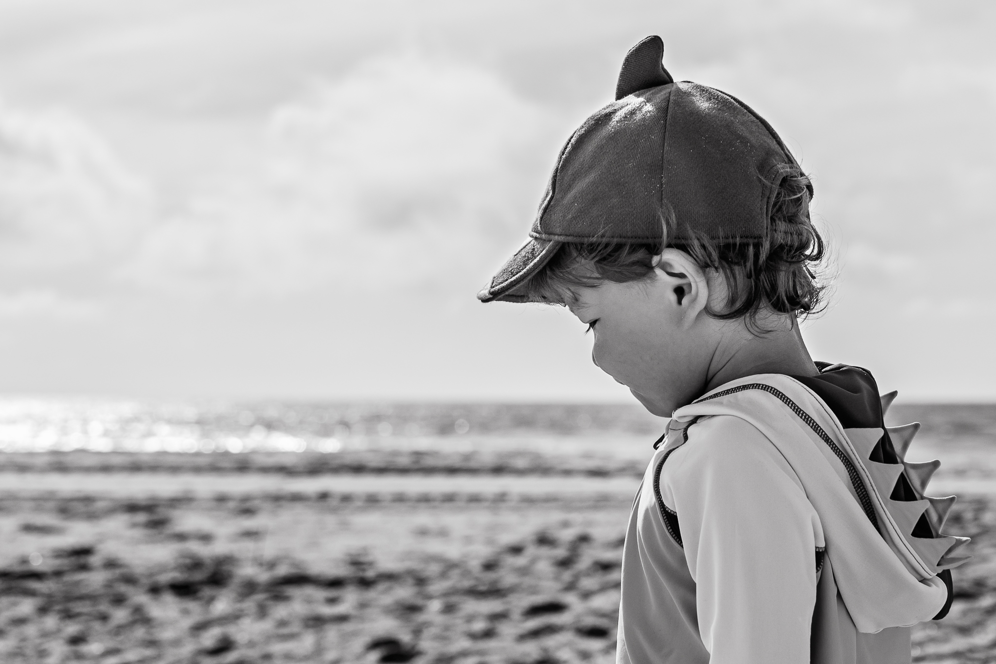 Nancy Elizabeth Photography, South Jersey Photographer, Boy with Shark Hat on Beach