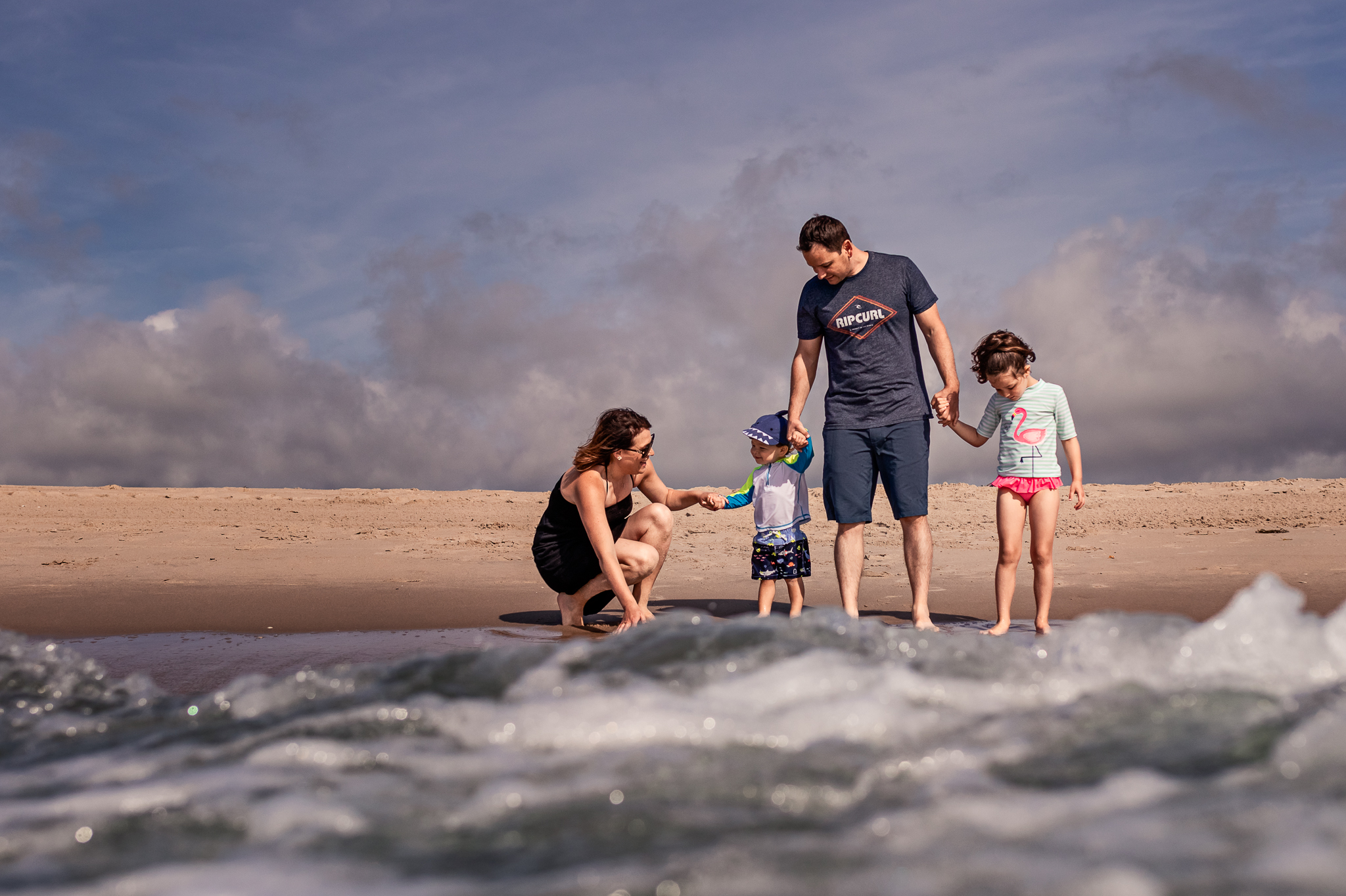 Nancy Elizabeth Photography, South Jersey Photographer, Family Playing in the Ocean