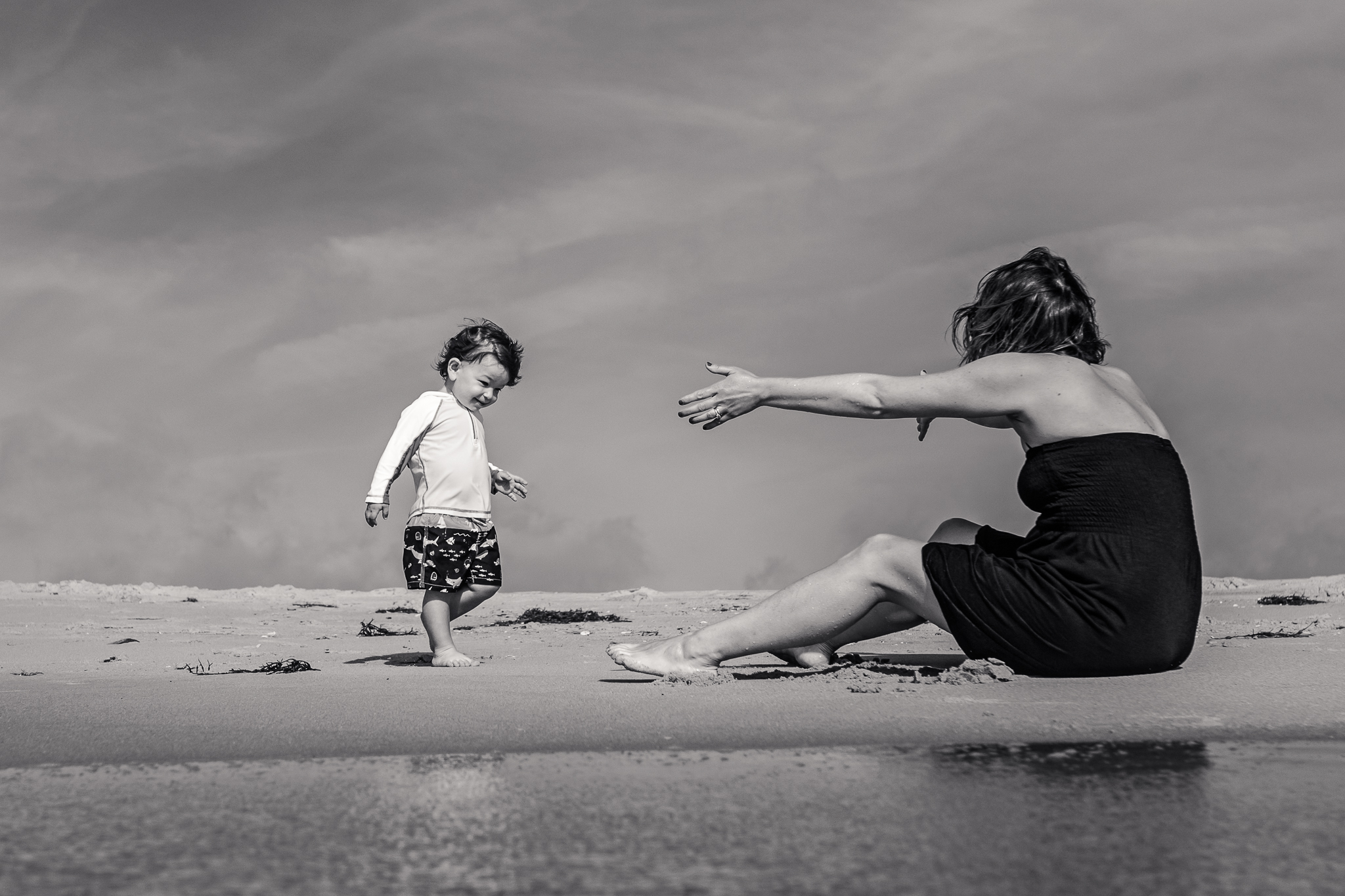 Nancy Elizabeth Photography Beach Session, South Jersey Photographer, Mom With Open Arms Waiting for Son