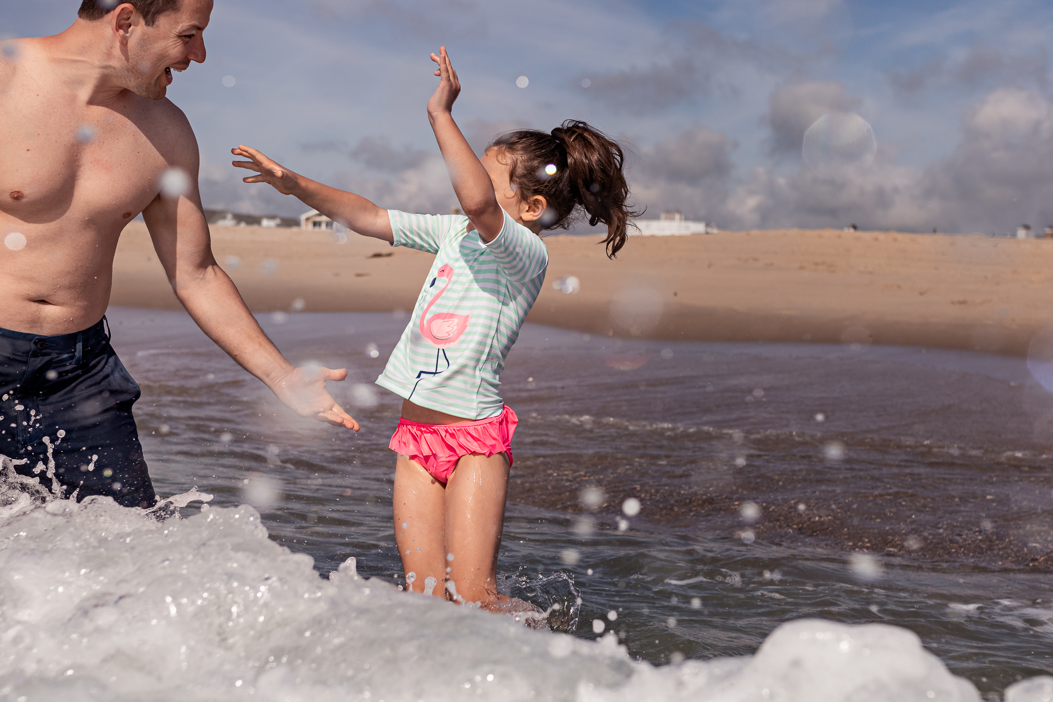 Nancy Elizabeth Photography Beach Session, South Jersey Photographer, Dad and Daughter in Ocean