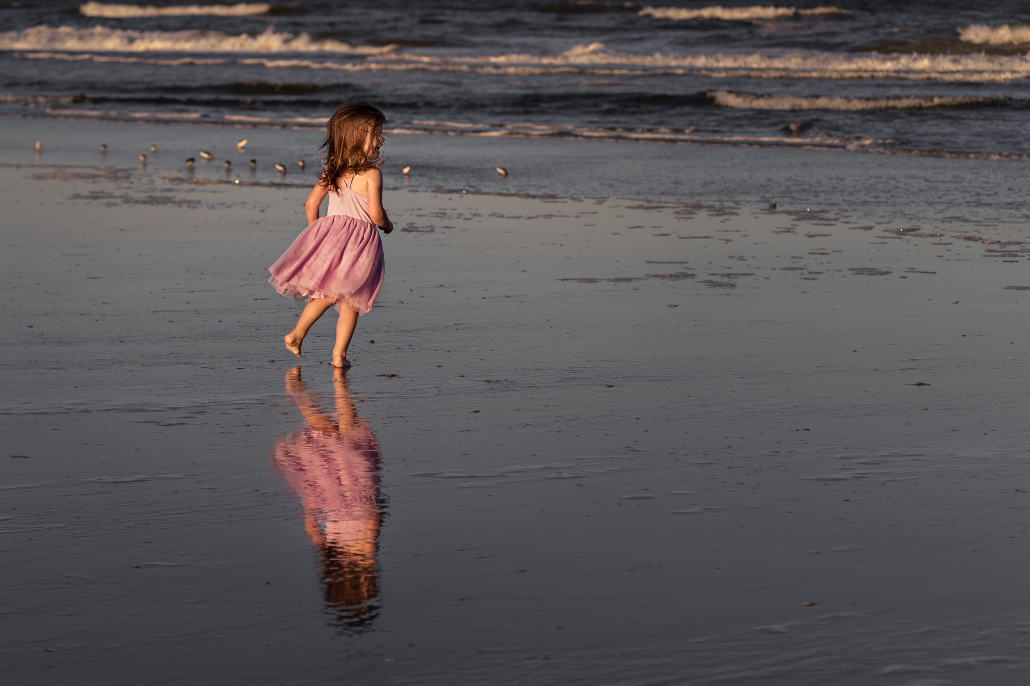Nancy Elizabeth Photography, South Jersey Beach Photographer, Girl and Reflection by Ocean