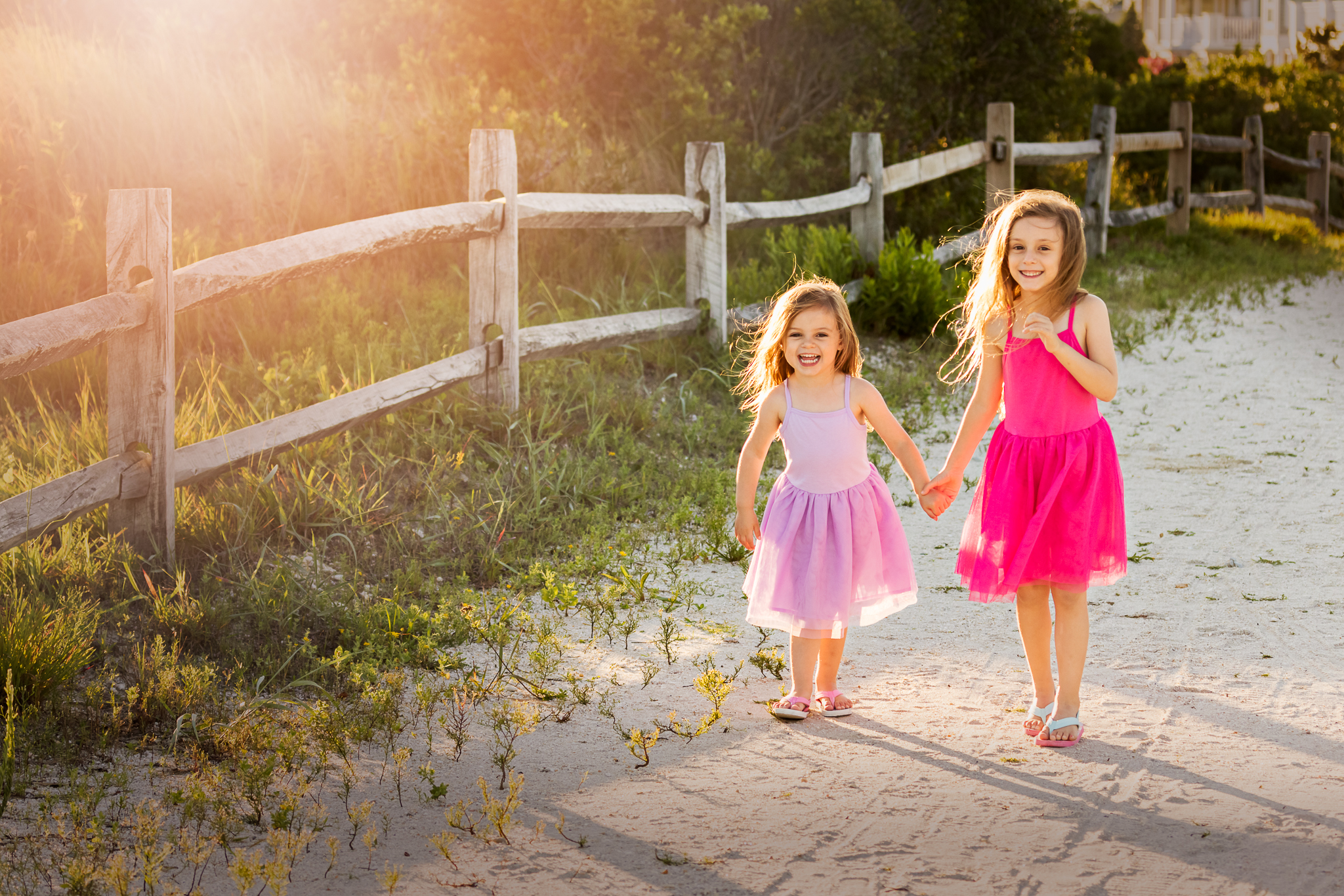 Nancy Elizabeth Photography, South Jersey Photographer, Sisters on Beach Path