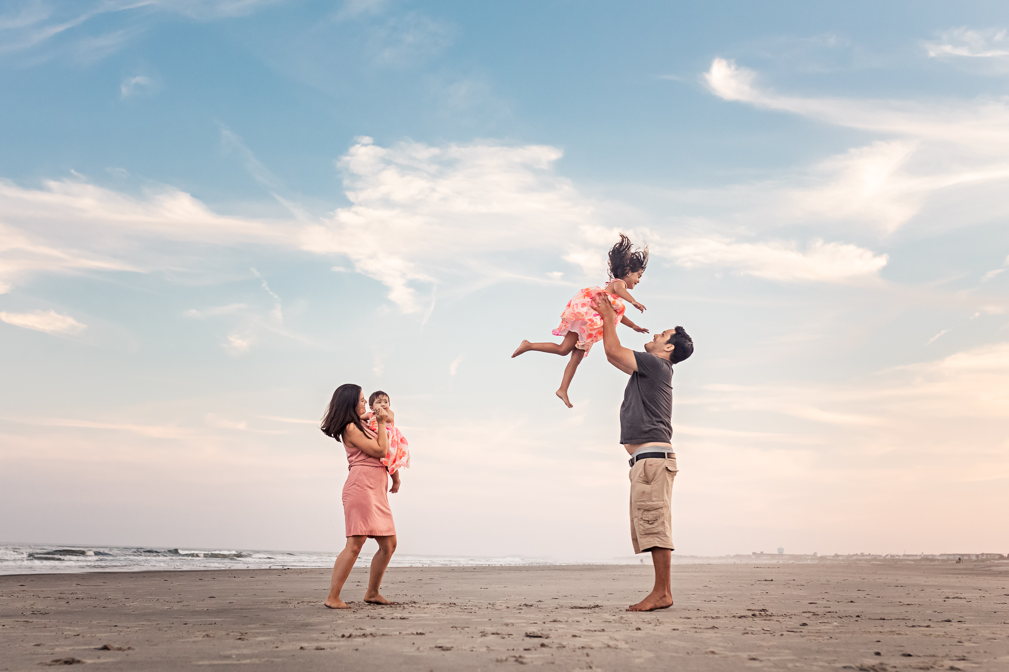 NancyElizabethPhotography, South Jersey Photographer, Family of 4 Playing on Beach