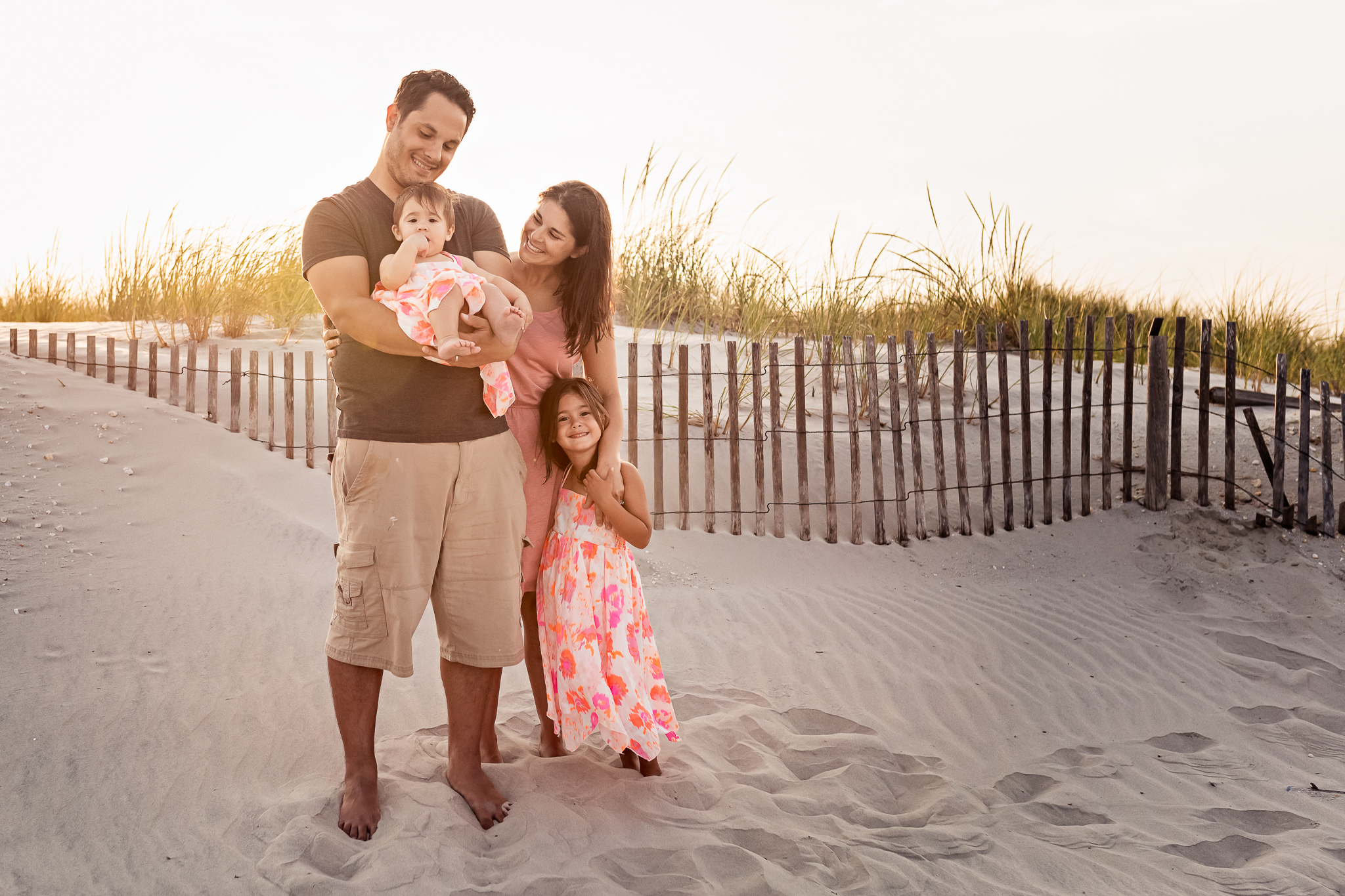 NancyElizabethPhotography, South Jersey Photographer, Family of 4 Standing By Beach Dunes