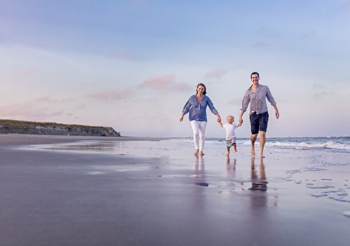 NancyElizabethPhotography, South Jersey Photographer, Family of 3 Walking by Ocean