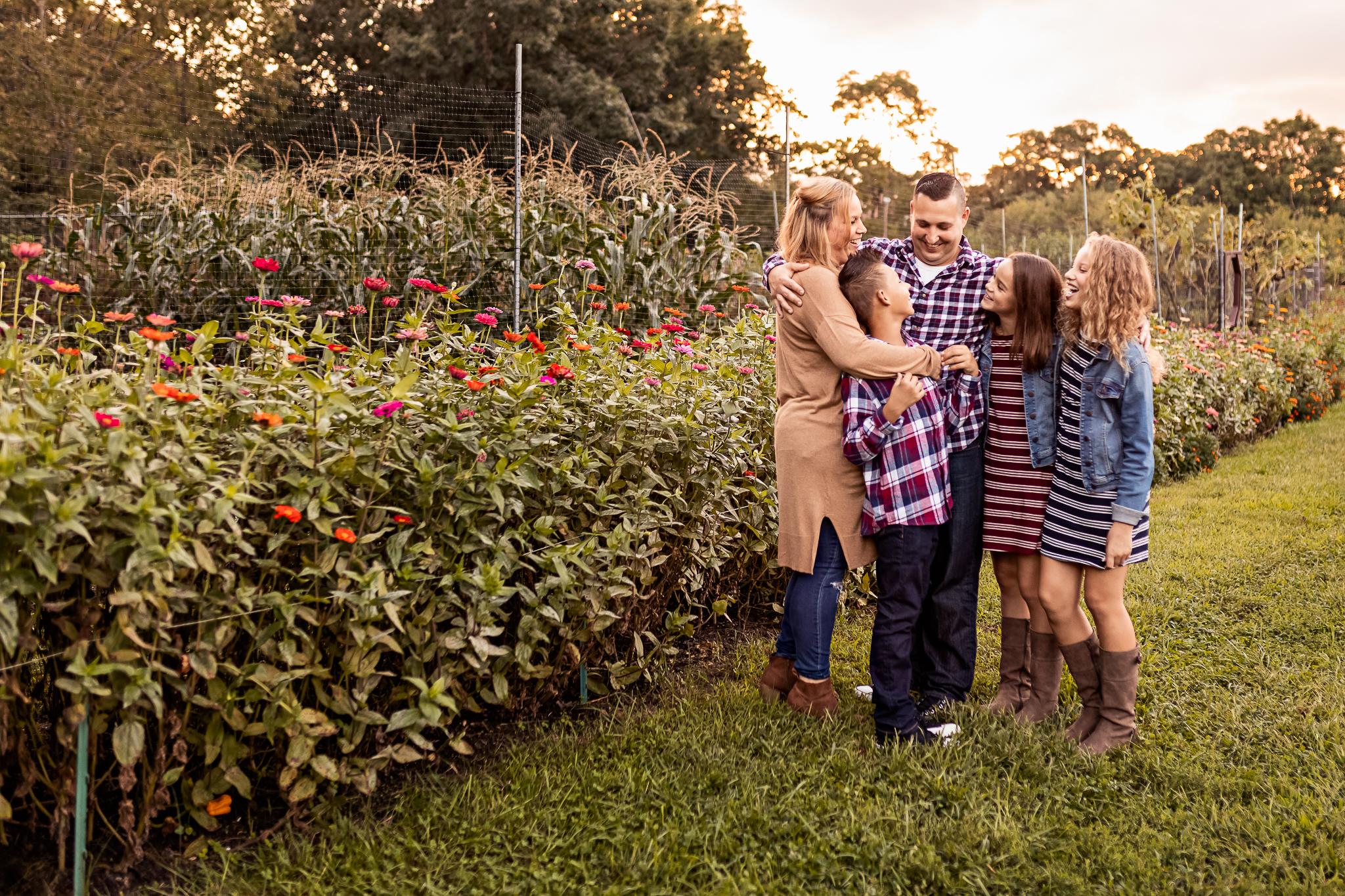 NancyElizabethPhotography, South Jersey Photographer, Family Hug By Flowers