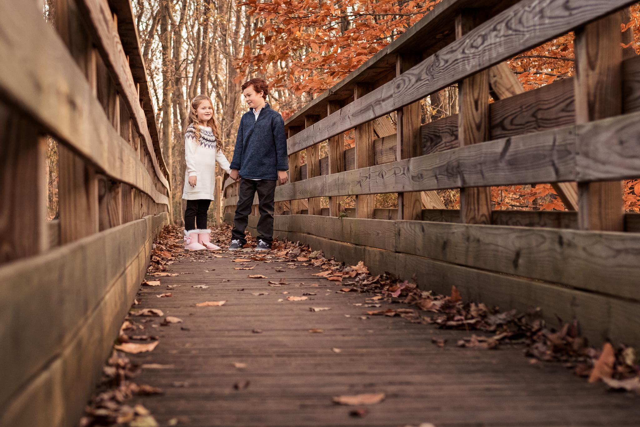 NancyElizabethPhotography, South Jersey Photographer, Siblings on Bridge