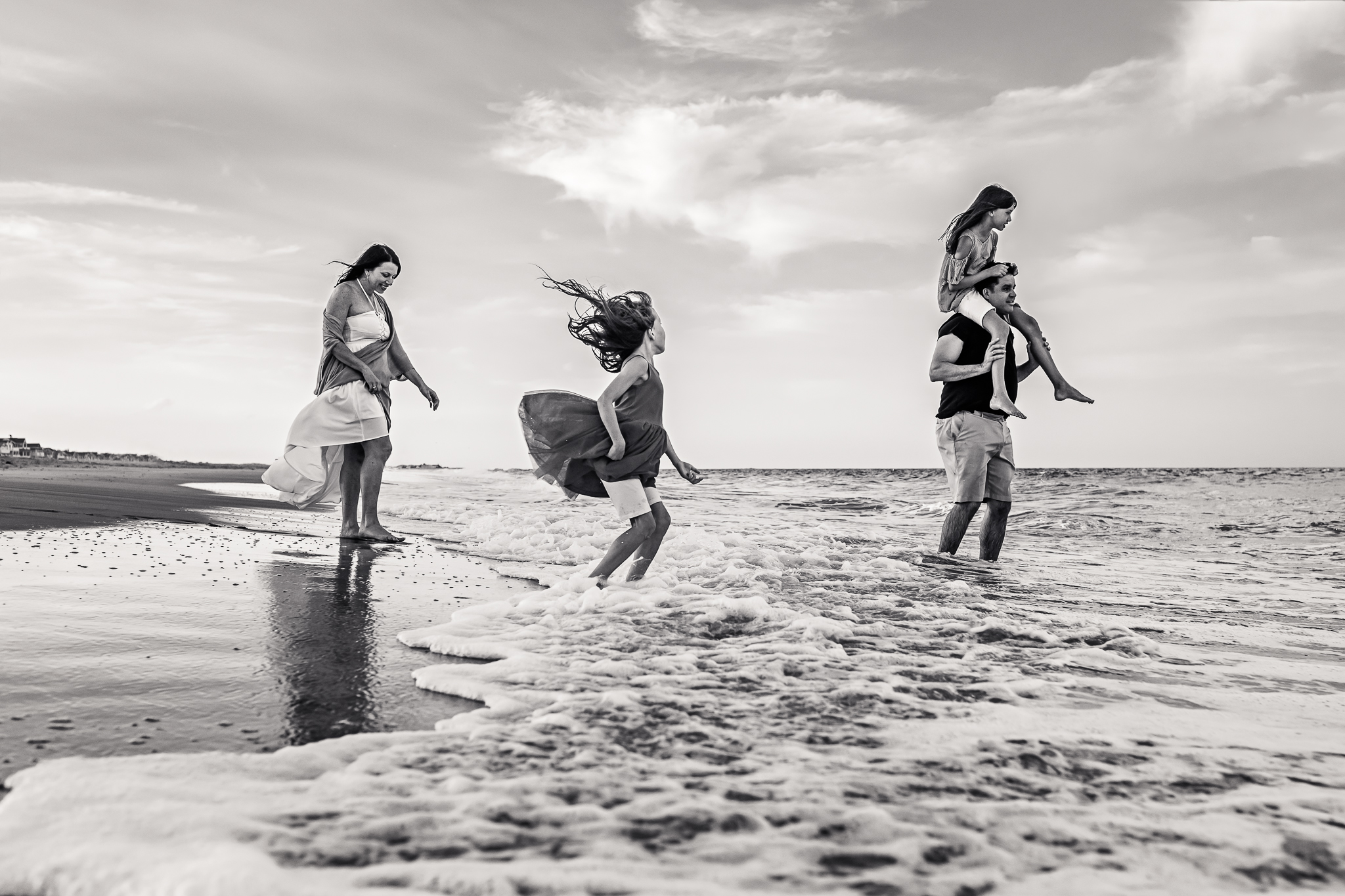 NancyElizabethPhotography, South Jersey Photographer, Family Walking in Ocean