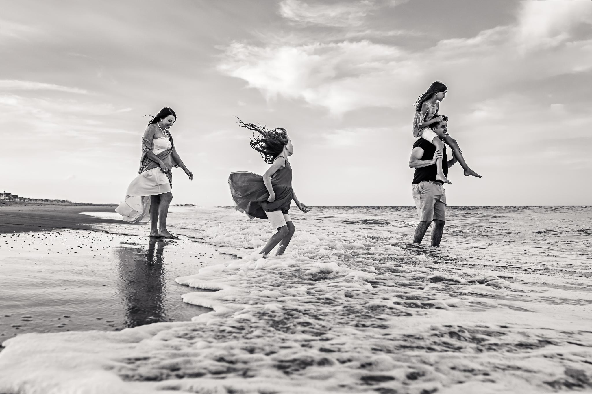 NancyElizabethPhotography, South Jersey Photographer, Family Walking in Ocean