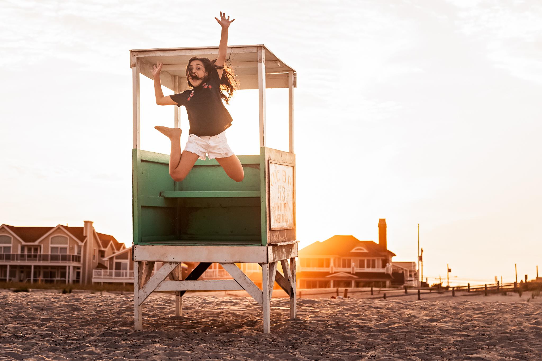 NancyElizabethPhotography, South Jersey Photographer, Jumping off lifeguard stand