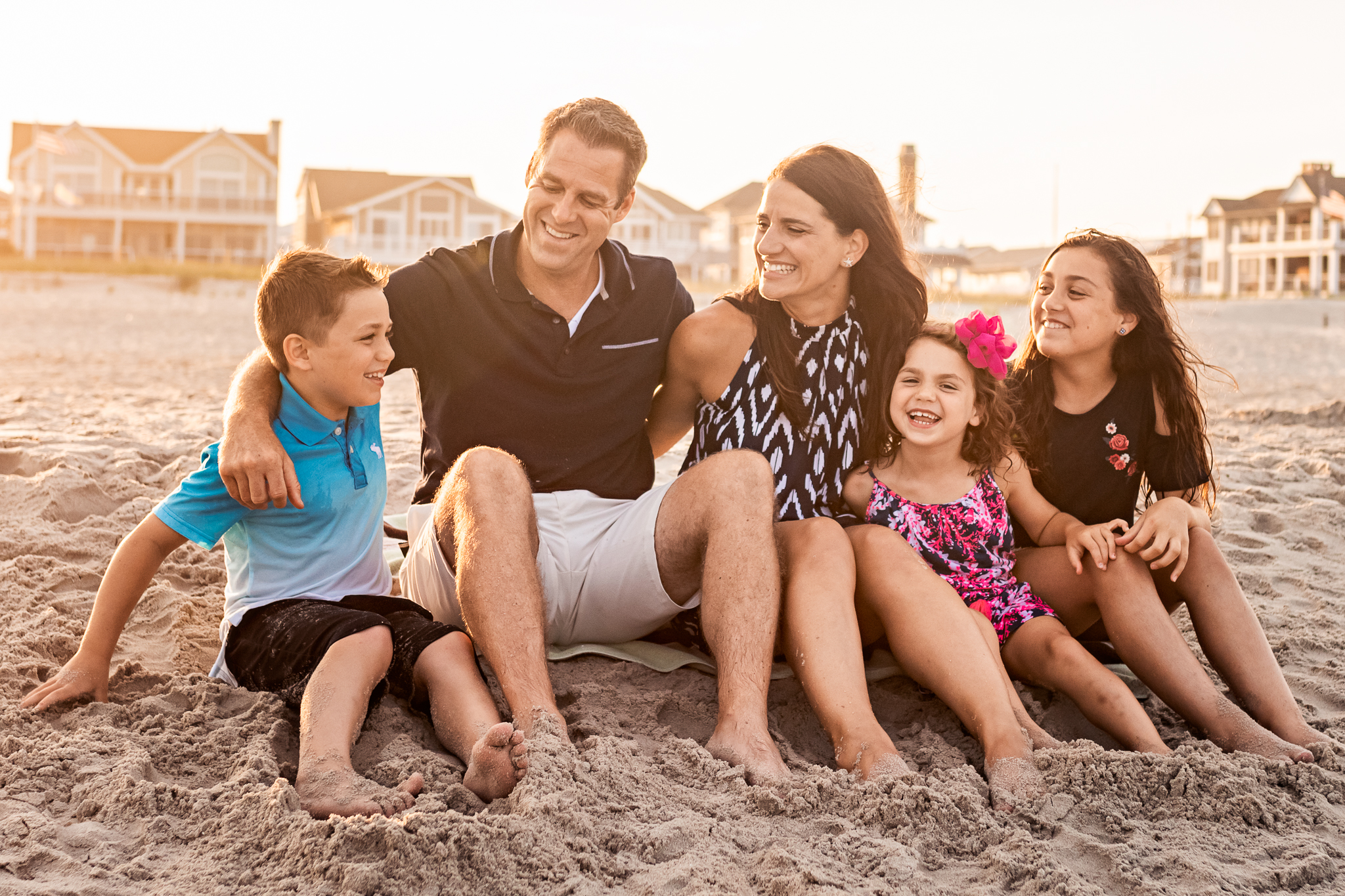 NancyElizabethPhotography, South Jersey Photographer, Family Laughing on the New Jersey Beach